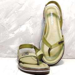 Женские сандали босоножки кожаные Evromoda 454-411 Olive.