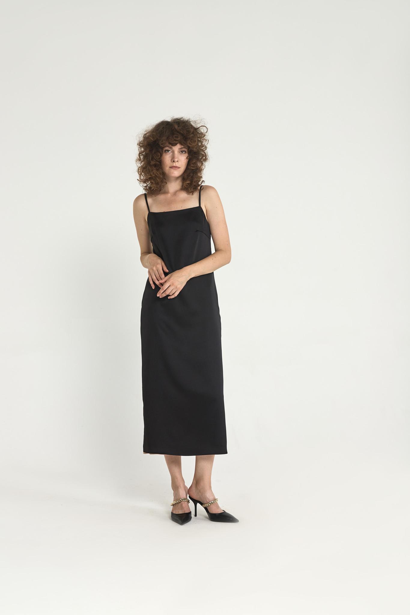 Двустороннее платье-комбинация, черный/персиковый