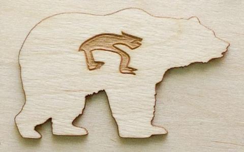 Магнит ДекорКоми на холодильник из дерева Медведь 10шт