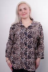 Магда. Стильна жіноча сорочка великих розмірів. Леопард жовтий.