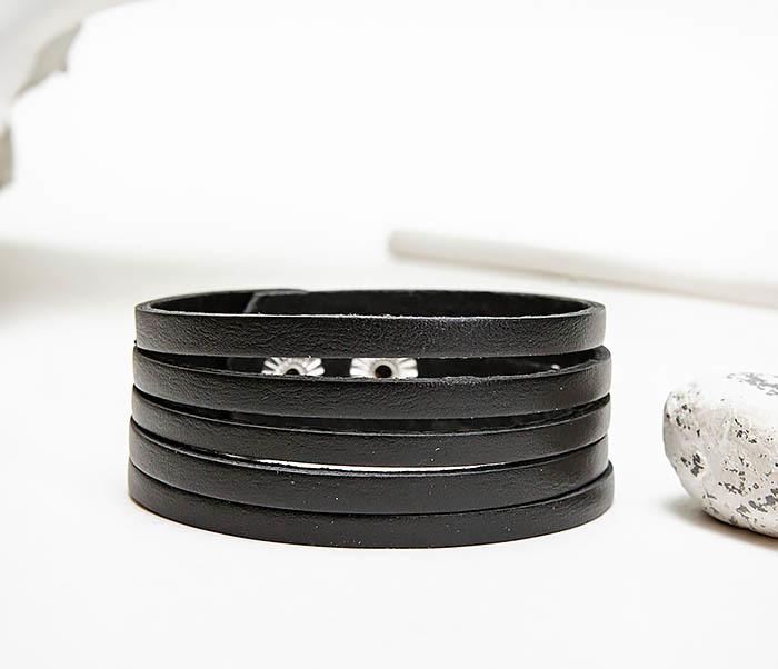 BL791-1 Мужской кожаный браслет «Полосы», ручная работы фото 04