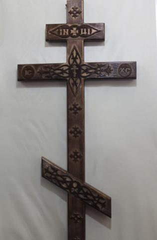 Крест сосна прямой с декором К-06