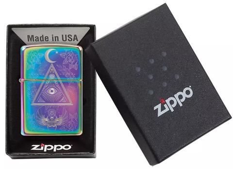 Зажигалка Zippo Classic с покрытием Multi Color, латунь/сталь, разноцветная, глянцевая, 36x12x56 мм123