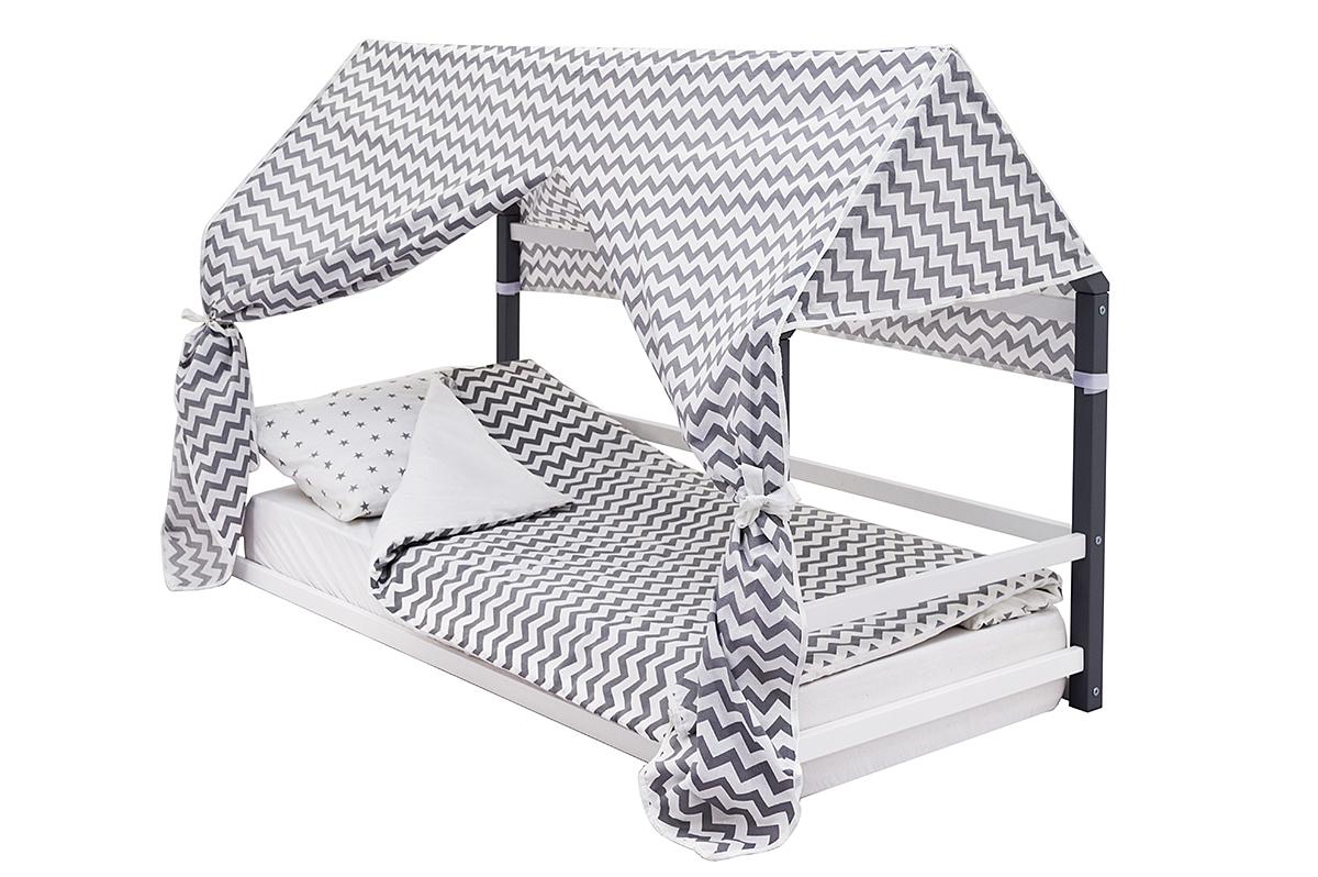 Кровать-домик Монтессори «Svogen» графит-белый