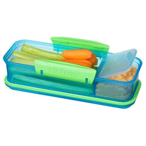 "Ланч-бокс Sistema ""Lunch"" с разделителем, 410 мл, цвет Голубой"