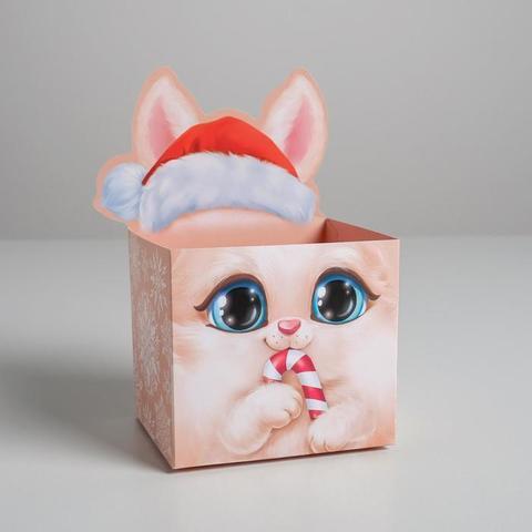 Коробка для мини-букетов «С Новым годом», зая, 12 х 17 х 10 см
