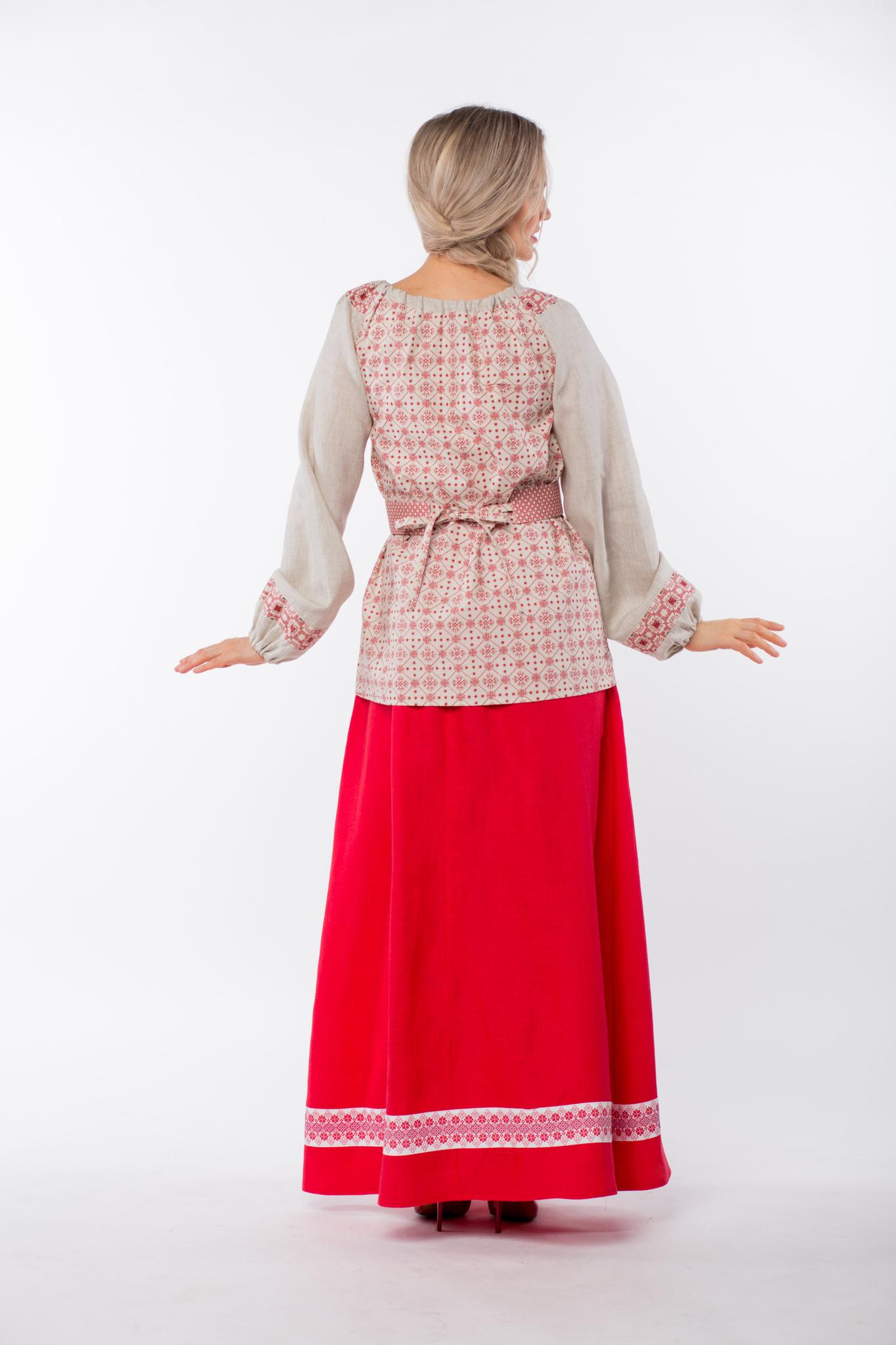 Блуза льняная Макошь на сером от Иванки