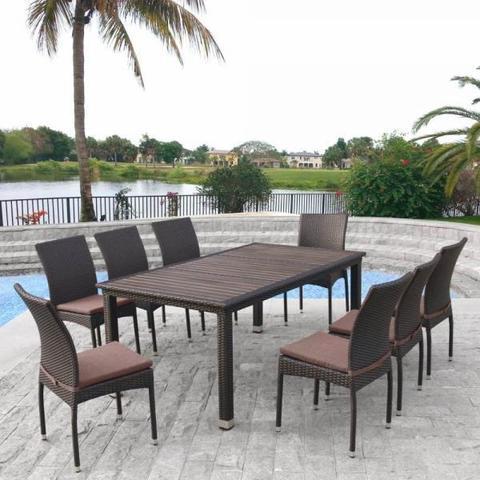 Комплект плетеной мебели T347/Y380A-W53 Brown (8+1)