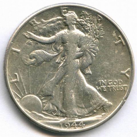 1/2 доллара 1944. США F-VF (Шагающая Cвобода)