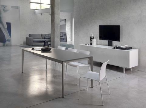 Стол DOTO (20.10) M306/ M306 белый/ С180S TOP+EXT velvet white (обеденный, кухонный, для гостиной), Материал каркаса: Металл, Цвет каркаса: Белый M 306, Материал столешницы: Стекло антицарапийное VELVET, Цвет столешницы: Белый матовый C180S, Цвет: Белый