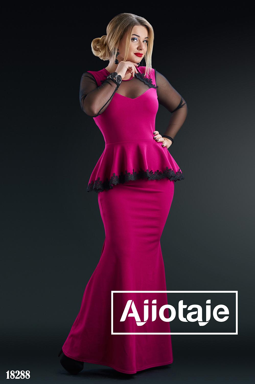 Элегантное платье в пол с кружевом цвета фуксия