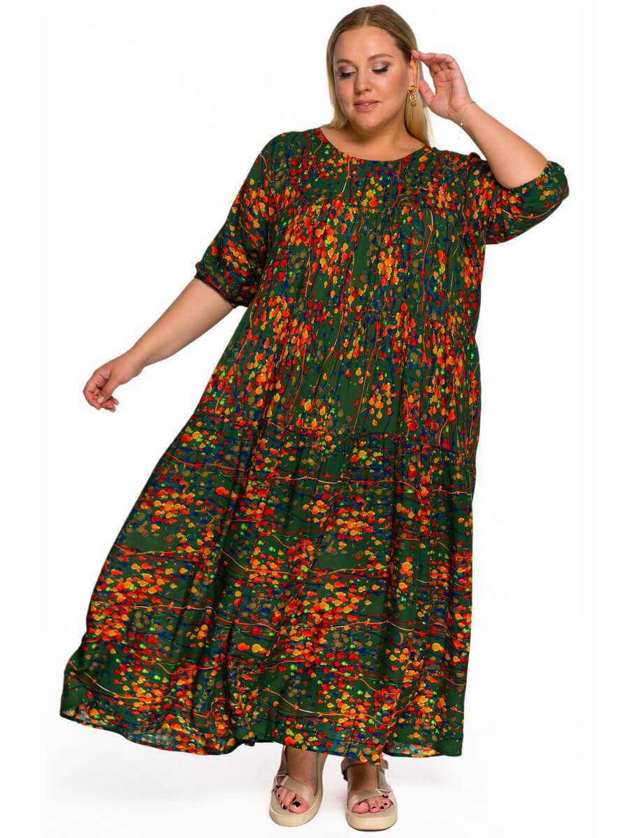 Платье с ярусами Абстракция на зеленом