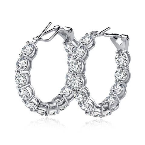 4989- Серьги-конго из серебра с круглыми цирконами бриллиантовой огранки d50mm