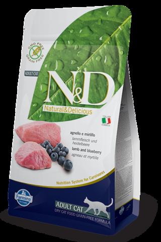 Сухой беззерновой корм Farmina N&D Grain Free Cat Lamb&Blueberry Adult