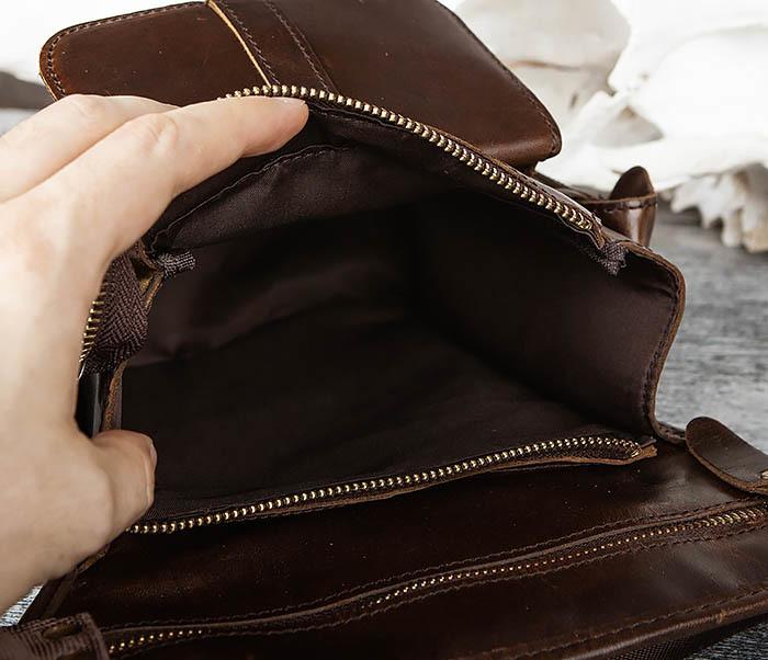 BAG443-2 Вместительная сумка на бедро из натуральной кожи фото 05