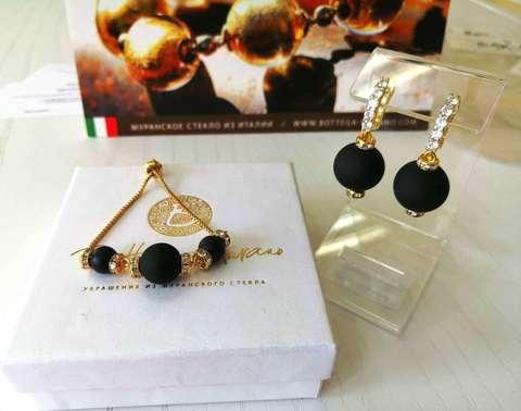 Комплект из браслета и серег со стразами Franchesca цвет Black Matt 064O