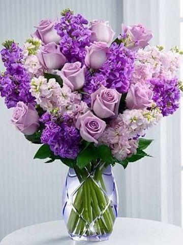 Алмазная Мозаика 30x40 Фиолетовый букет в прозрачной вазе