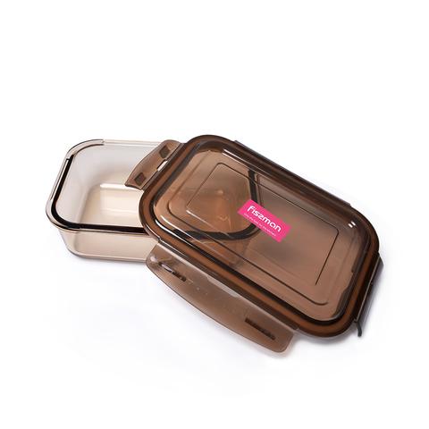 6525 FISSMAN Контейнер с крышкой 19x14x6 см / 1040 мл, стекло/пластик,  купить