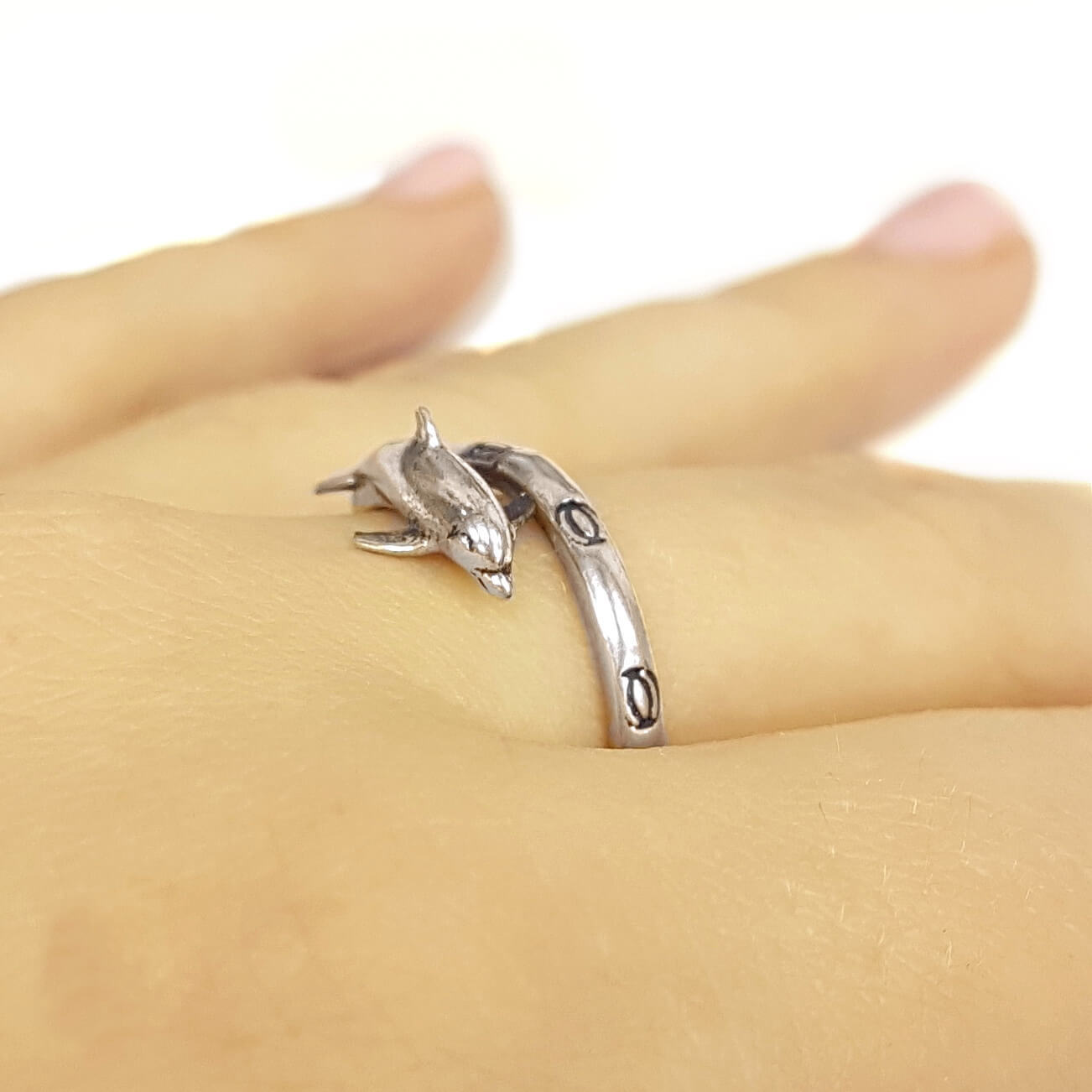 Dolphin Totem Ring, sterling silver