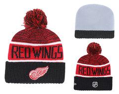 Шапка вязаная с помпоном и с логотипом НХЛ Детройт Ред Уингз  (NHL Detroit Red Wings)
