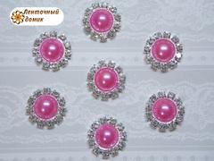 Полужемчуг в стразовом обрамлении ярко-розовый