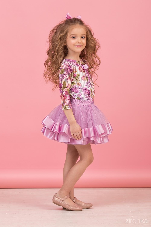 Комплект (блузка, майка, юбка) сиреневый для девочки 64-8004-5