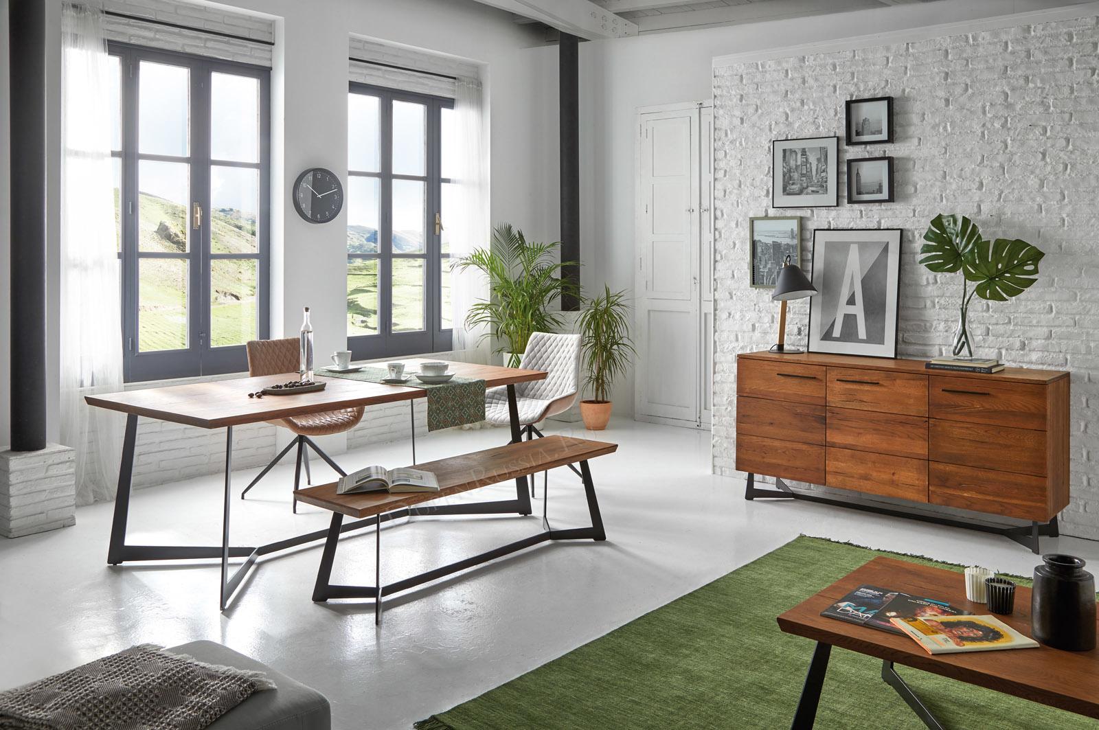 Коллекция OREGON DUPEN: стол, скамья, буфет и журнальный столик