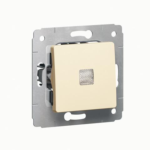Выключатель одноклавишный проходной с подсветкой Переключатель на два направления с подсветкой - 10 AX - 250 В~. Цвет Cлоновая кость. Legrand Cariva (Легранд Карива). 773726