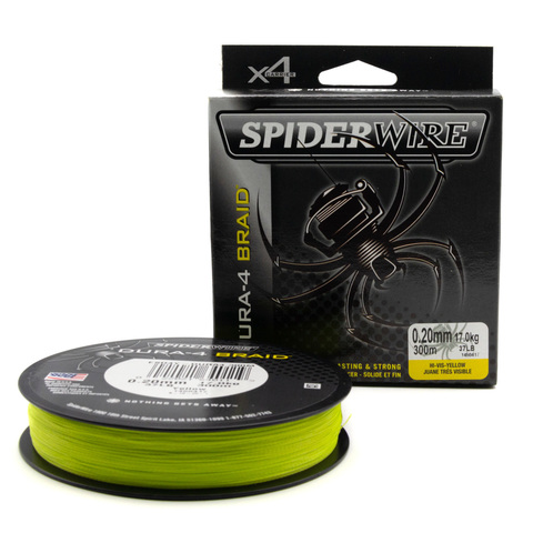 Плетеная леска Spiderwire Dura4 Braid Ярко-желтая 0,20 мм. 300 м. Yel (1450417)