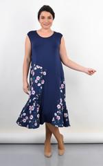 Флоріана. Трикотажне плаття на літо великий розмір. Синій.