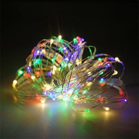 LED гирлянда на тонкой проволоке разноцветная 100LED