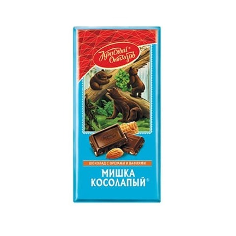 Шоколад Мишка косолапый с миндалем и вафельной крошкой, Красный Октябрь, 75 гр.