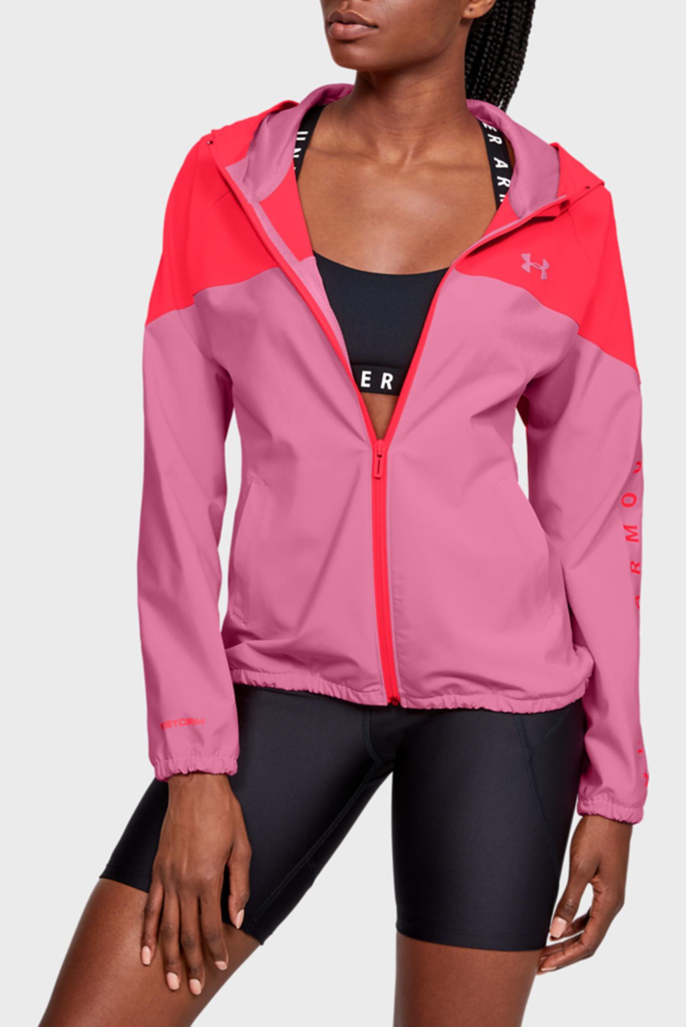 Женское розовое спортивное худи Woven Hooded Jacket Under Armour