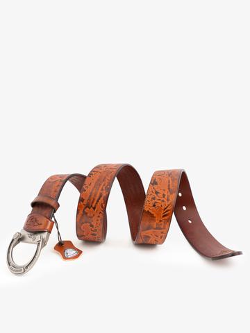 Ремень «В поле с конём» медно-коричневого цвета