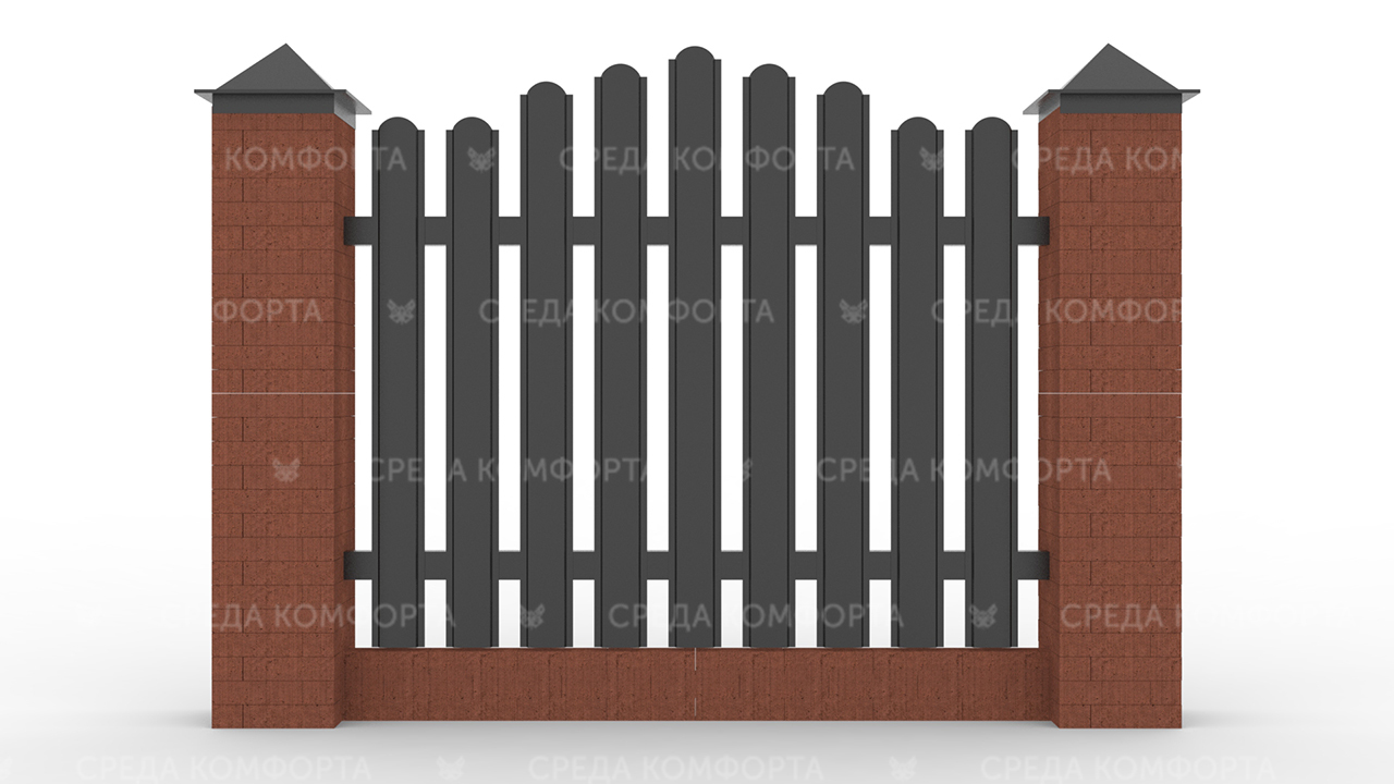 Забор из евроштакетника ZBR0055