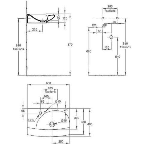 Раковина подвесная Jacob Delafon Stillness 60x40 E1300-00 схема