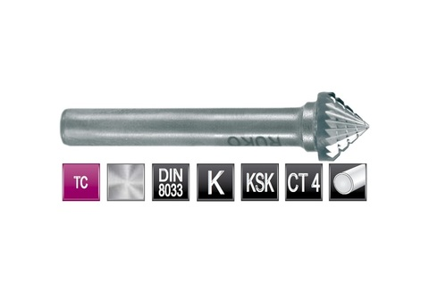 Бор-фреза твердосплавная K(KSK) 90° 10,0х5x6x50мм HM Ruko 116229