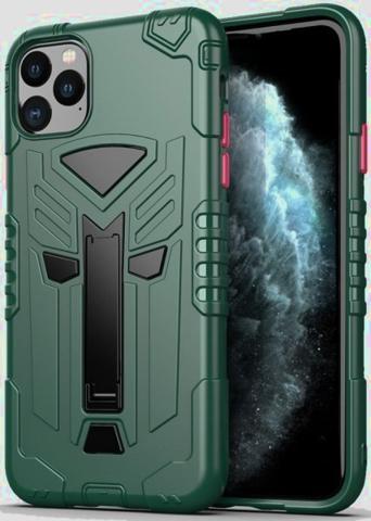 Чехол Carbon для iPhone 11 Pro Max серия Дюал | с магнитом и складной подставкой зеленый