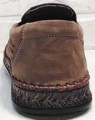 Летние мужские туфли слипоны кожа стиль кэжуал мужской Luciano Bellini 91737-S-307 Coffee.