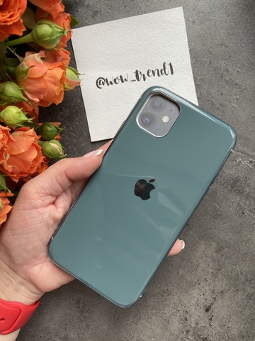 Чехол Iphone 11 Glass Silicone Case Logo /forest green/