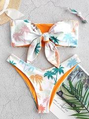 купальник раздельный бандо белый оранжевый с пальмами 1