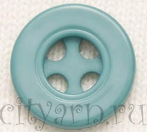 Пуговица круглая с декоративными отверстиями, малая, цвета размытой бирюзы