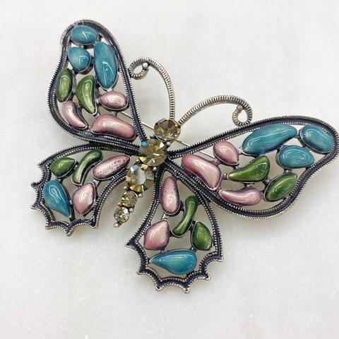 Брошь Бабочка мозаичная розовый зеленый голубой фианит