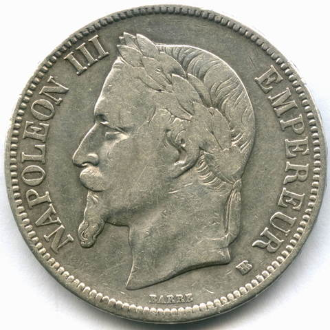 5 франков 1869 BB (Наполеон III) Франция VF