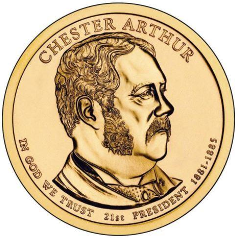 1 доллар 21-й президент США Честер Артур 2012 год