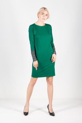 Фото зеленое платье по фигуре с кружевными манжетами - Платье З306-492 (1)
