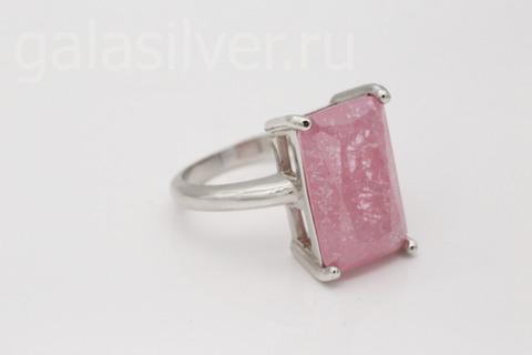 Кольцо с нано кристаллом розовым из серебра 925