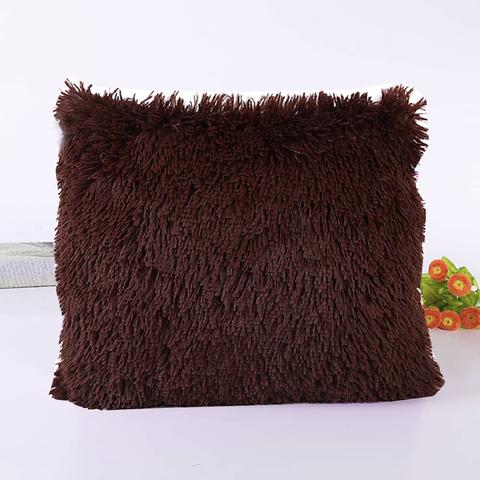 Подушка интерьерная с длинным ворсом шоколадного цвета