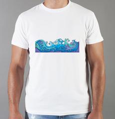 Футболка с принтом Море, Океан, волны (Sea, ocean, waves) белая 0019