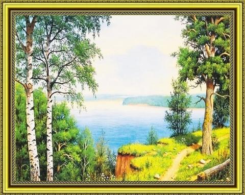 Алмазная Мозаика 40x50 Деревья у реки (арт. HWA2944 )
